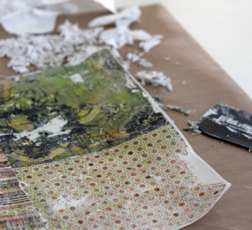 Remove small fiber bits and scrape