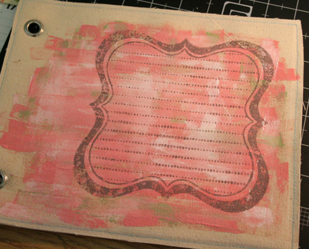 Stamped-canvas-album-page