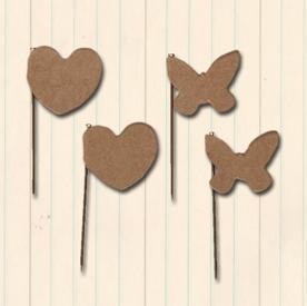 Kraft heart trinket pins