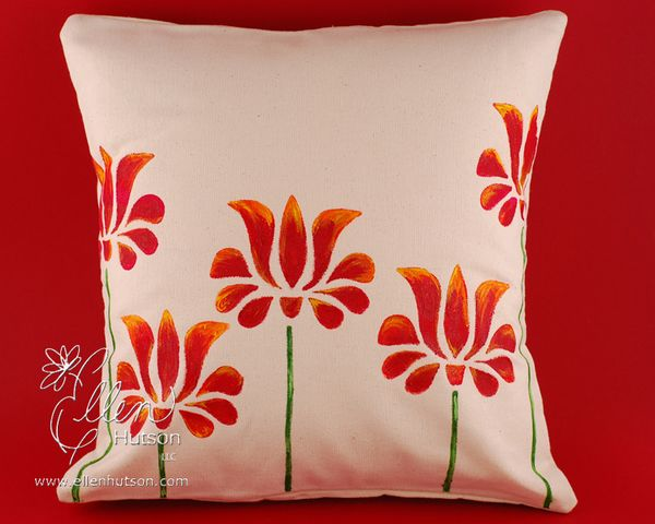In Touch Hand Painted Canvas Pillow Cover
