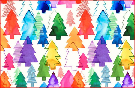 Margaret Berg Overlapping Xmas Trees Rainbow