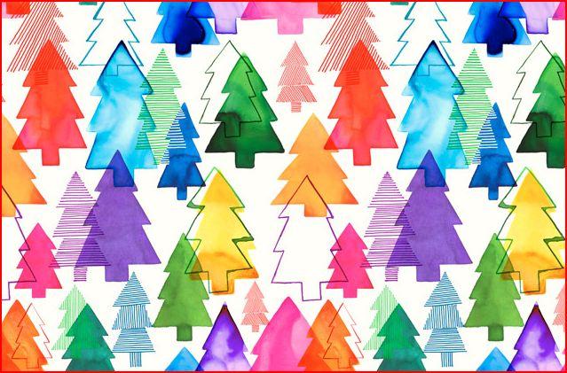 Margaret Berg Overlapping Xmas Trees Rainbow