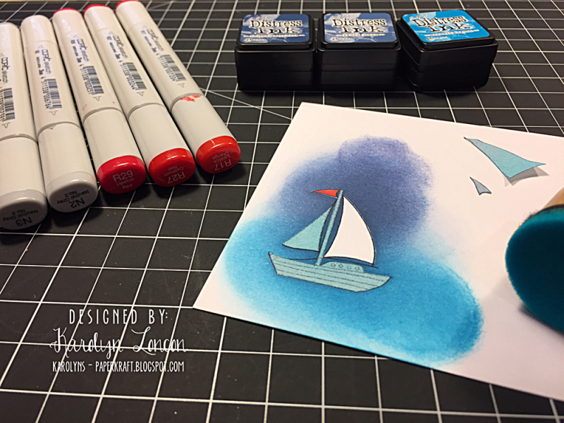 EH 1 Masking and ink blending sailboat