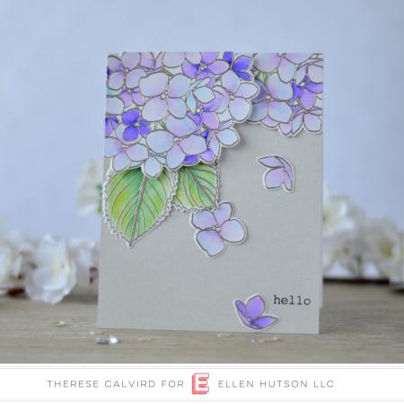 Ellen Hutson Color Trend Floral Fantasies May 2018 - Mondo Hydrangea - Therese Calvird (card video) 3 copy